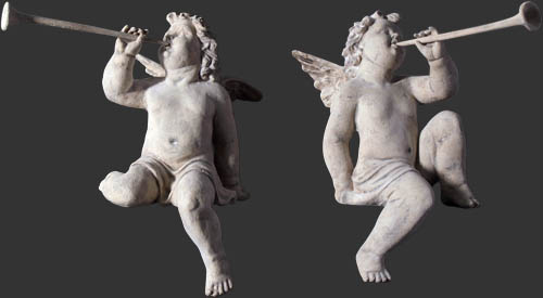 Cherubs Heralds Roman Stone Finish (SET OF 2) / Fiberglass