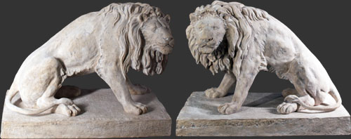 Set of Lions Bronze or Roman Stone Finish
