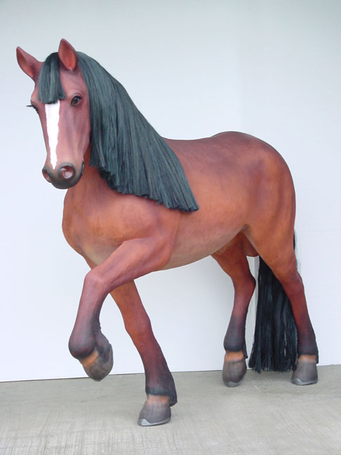 Brown Fiberglass Horse-life like/Mane & Tail
