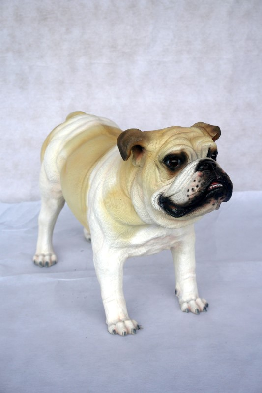 Bulldog Statue / White - Click Image to Close