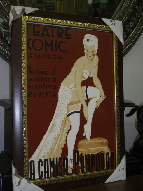 "Framed Poster with Glass - "" Teatre Comic """