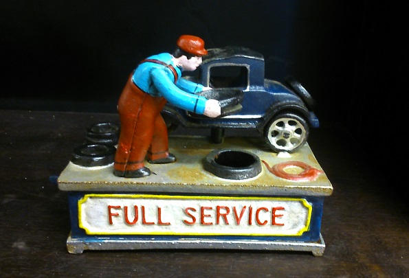 Service Station Cast Iron Mechanical Bank
