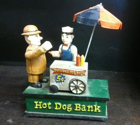 Hot Dog Cast Iron Mechanical Coin Bank - Click Image to Close