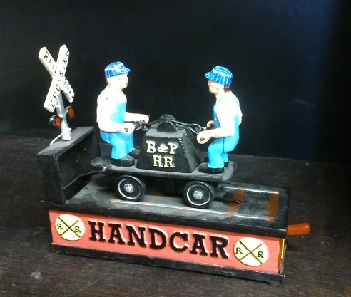 Cast Iron Handcar Mechanic Bank