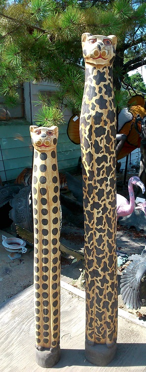 Cheetah Wood Statue (Set)