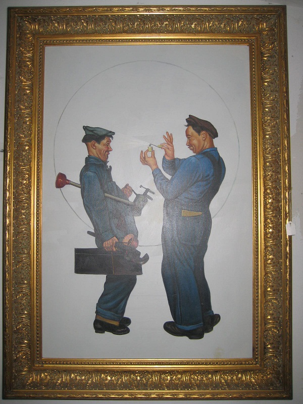 Oil painting-Plumbers discounted