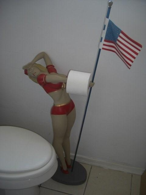 American Flag Girl Toilet paper Holder