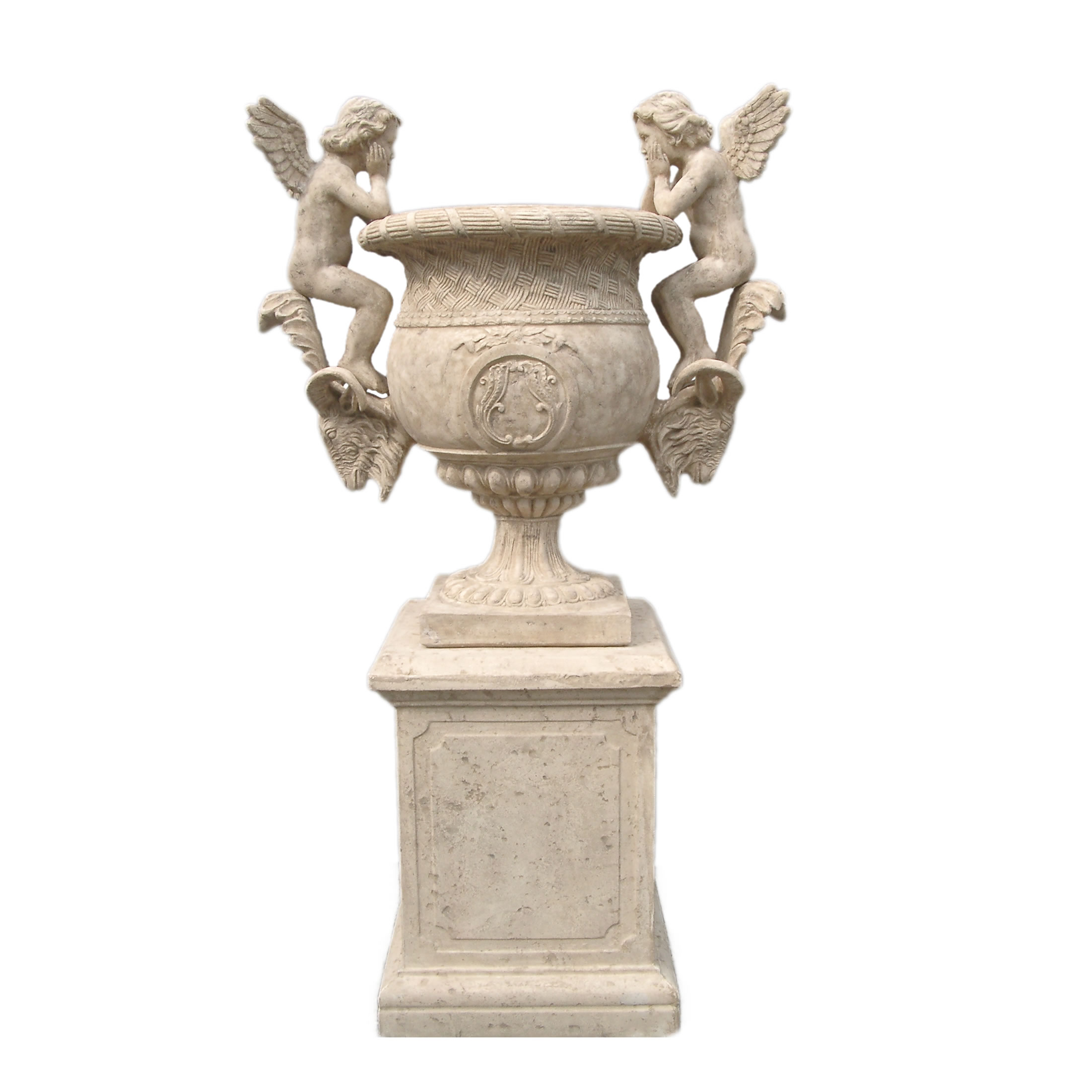 Fiberglass Angels Urn on Base (Base not Included)