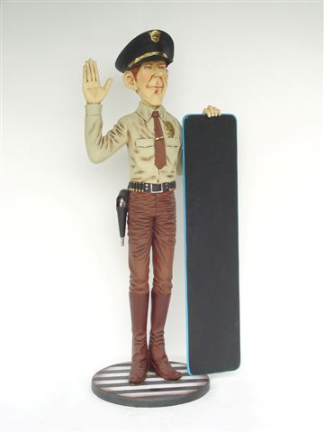 Policeman with Menu Board