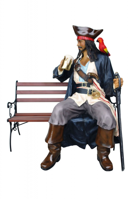 Pirate with Beer Sitting on Bench