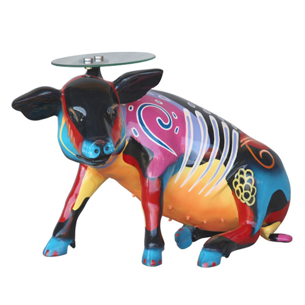 Popart Pig Sitting with Table Top