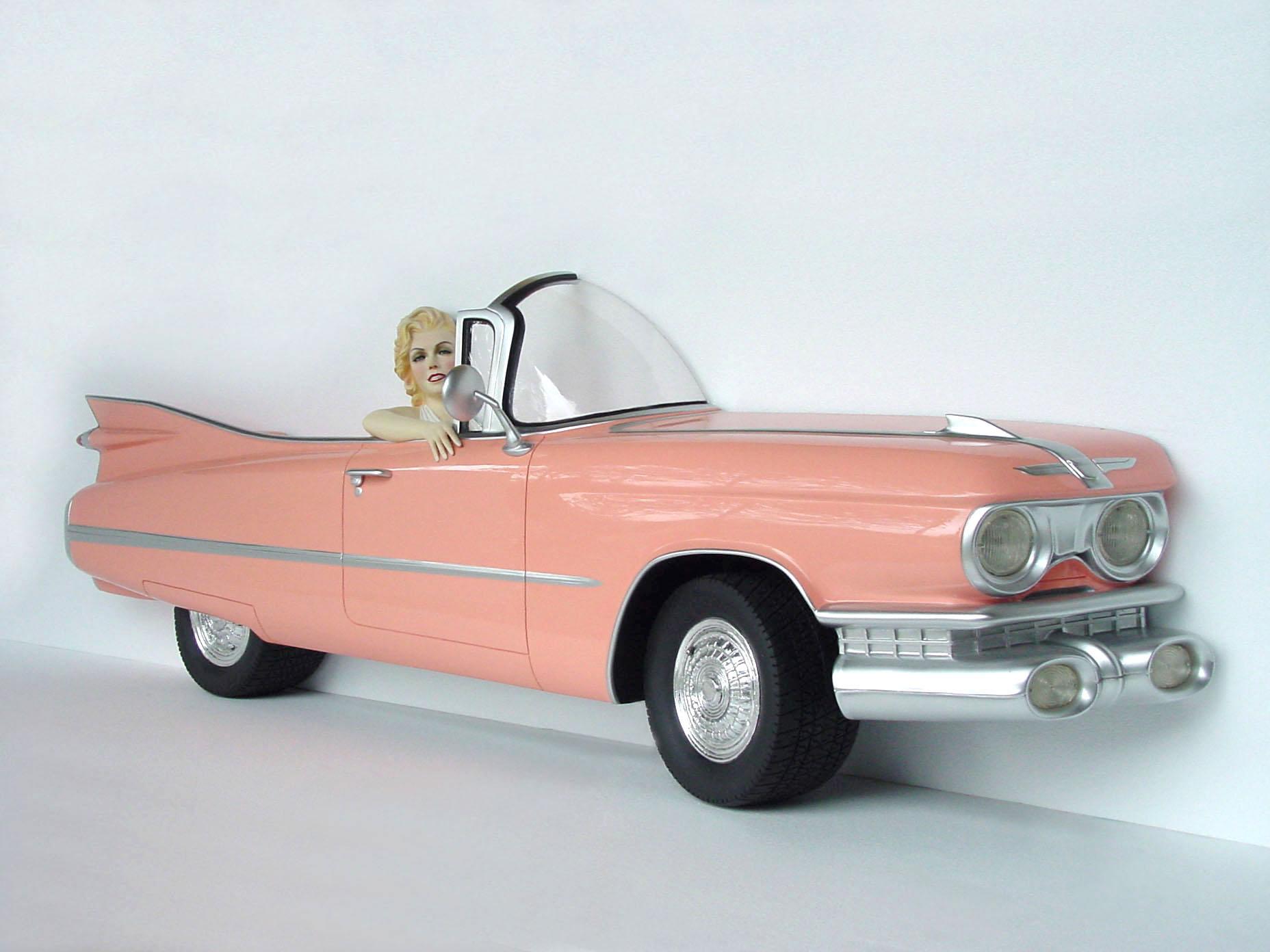 Amazing Pink Cadillac Car Wall Decor With Actress