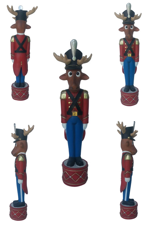 Funny Reindeer Toy Soldier 4 Ft.