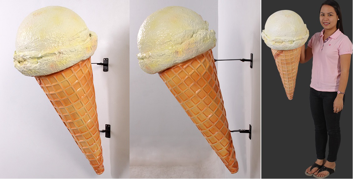 Hard Vanilla Ice Cream Cone - Hangs on Wall