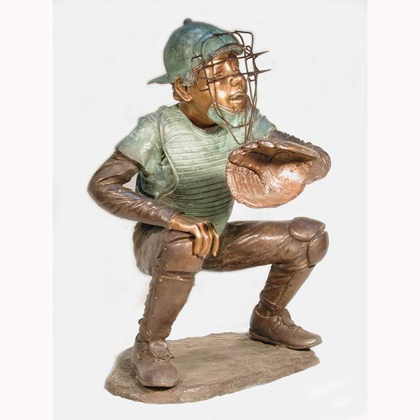 Bronze Metal Baseball Catcher, Kid