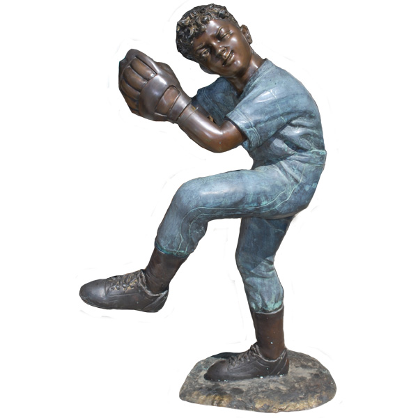 Bronze Metal Baseball Pitcher, Kid