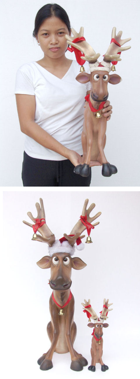 Funny Reindeer Sitting (Mini) - Click Image to Close