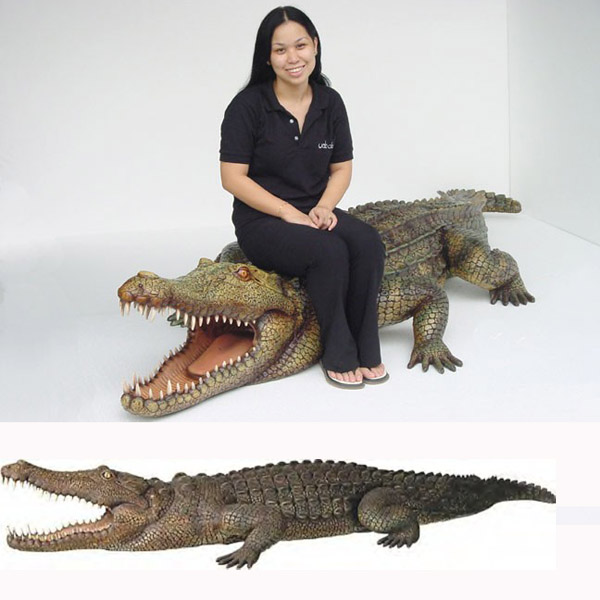 Fiberglass Crocodile  10 ft. Long outdoor statue figure life like plastic