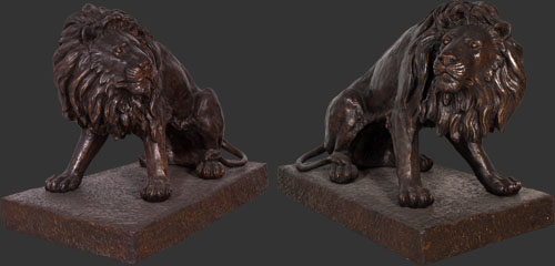 Set of Lions in Bronze Finish