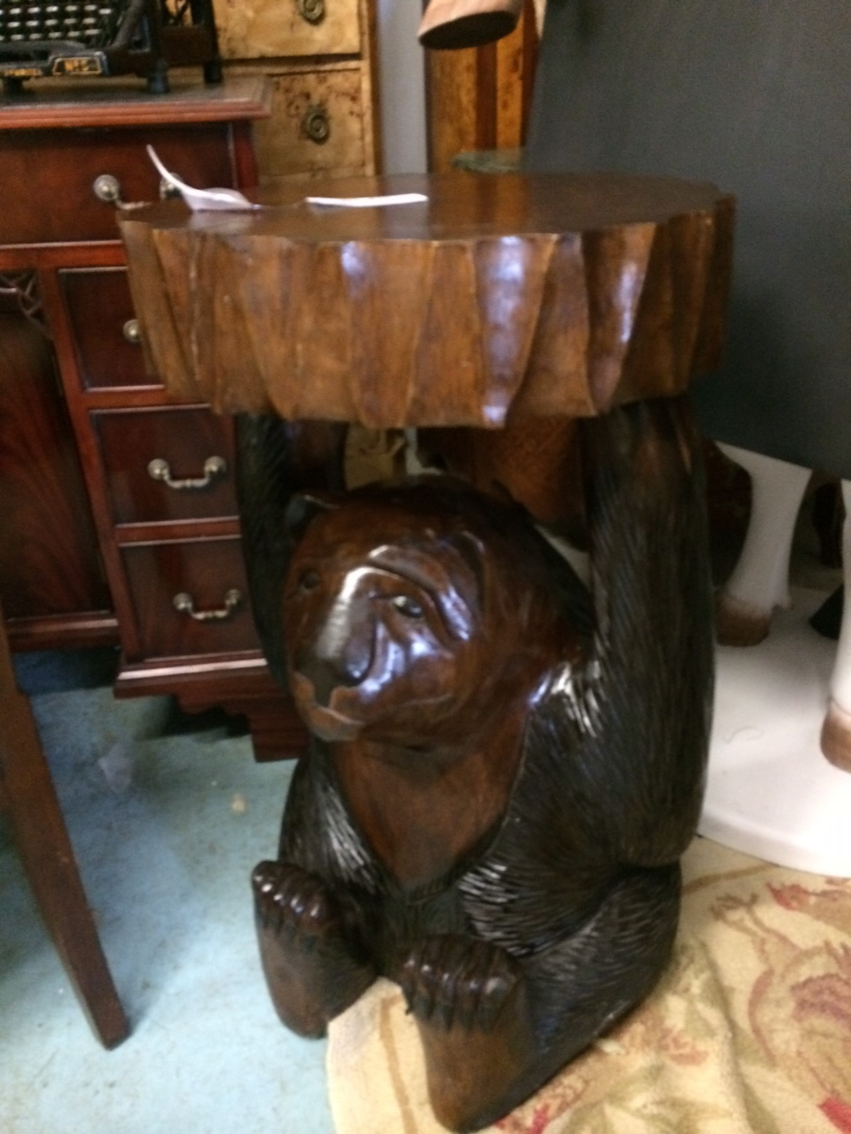 Wooden Bear End Table