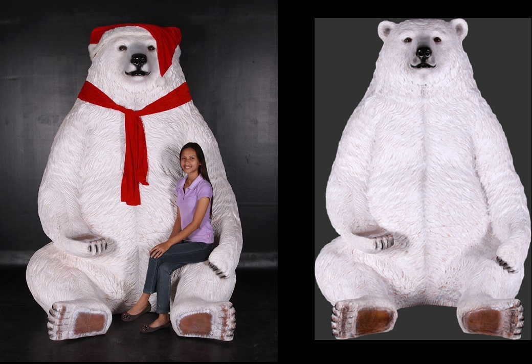 Sitting Christmas Polar Bear 7.5 Ft. - Click Image to Close